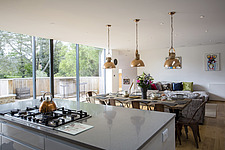 Kitchen diner in Ashbrook House, a contemporary family eco-house in Blewbury, South Oxfordshire, UK - ARC102982