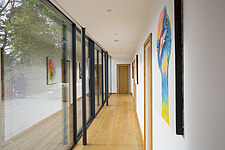 Hallway in Ashbrook House, a contemporary family eco-house in Blewbury, South Oxfordshire, UK - ARC102994