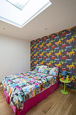 A bedroom in Ashbrook House, a contemporary family eco-house in Blewbury, South Oxfordshire, UK - ARC102996