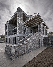 Exterior view of Olive ##38; Stone aka Katsimpiri residence in Panorama Achaea, Greece by architect Nikos Mourikis - ARC103485