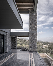 Exterior view of terrace, Olive ##38; Stone aka Katsimpiri residence in Panorama Achaea, Greece by architect Nikos Mourikis - ARC103487