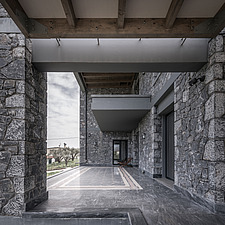 Exterior view of terrace, Olive ##38; Stone aka Katsimpiri residence in Panorama Achaea, Greece by architect Nikos Mourikis - ARC103489