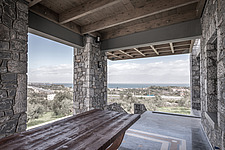 Exterior view of terrace, Olive ##38; Stone aka Katsimpiri residence in Panorama Achaea, Greece by architect Nikos Mourikis - ARC103490
