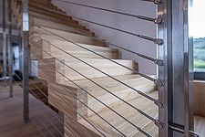 Interior view of Olive ##38; Stone aka Katsimpiri residence in Panorama Achaea Greece by architect Nikos Mourikis, staircase detail - ARC103496