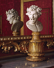 Giovanni Bernini sculpture of a head and gilded frame in the Spanish Embassy to the Holy See, Piazza di Spagna, Rome - 37-140-1