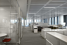 Interior view of open office space in The American Embassy in Nine Elms, London, UK - ARC104021
