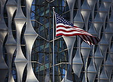 Exterior view of facade with outer envelope detail, The American Embassy in Nine Elms, London, UK - ARC104026