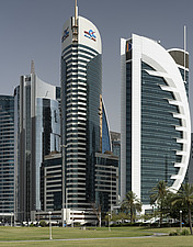 Doha Bank Tower, Qatar, among other office towers along the Corniche, west bank - ARC104112