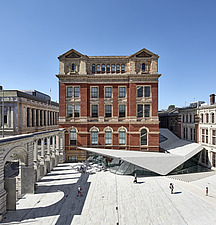 An aerial perspective of the new Sackler Courtyard at the V&A, London, UK, completed in 2017 - ARC104221