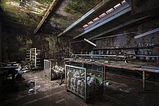Production line with abandoned pottery at an abandoned factory in Germany - ARC104509