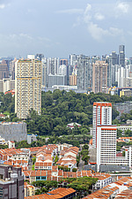 Aerial view of shophouses at Tanjong Pagar Conservation District and Pearl Bank Apartment, Singapore - ARC104564