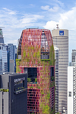 Aerial closeup view of buildings in Singapore central business district, downtown, Tanjong Pagar - ARC104572