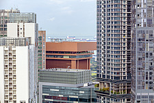 Aerial closeup view of buildings in Singapore central business district, downtown, Tanjong Pagar - ARC104578