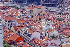 Aerial view of shophouses at Chinatown Conservation District, Singapore - ARC104579