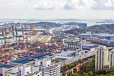 Aerial view of Port of Singapore, Tanjong Pagar - ARC104582