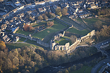 Aerial view of Barnard Castle, ringwork and later shell keep castle, County Durham, England, UK - ARC104691