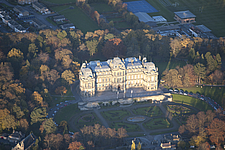 Aerial view of Bowes Museum and park, Barnard Castle, County Durham, England, UK - ARC104692
