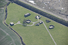 Aerial view of WWII heavy anti-aircraft battery J/H9 at Stone Creek, East Yorkshire, England, UK - ARC104694