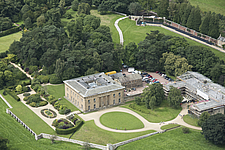 Aerial view of Belsay Hall, Northumberland, England, UK - ARC104697