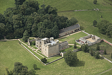 Aerial view of Belsay Castle, Northumberland, England, UK - ARC104698
