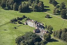 Aerial view of house and stable court, Waldershare Park, Kent, England, UK - ARC104708