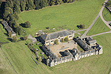 Aerial view of riding school and stable courtyard, Waldershare Park, Kent, England, UK - ARC104709