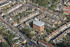 Aerial view of the water tower of Ramsgate Water Works, Kent, England, UK - ARC104711