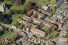 Aerial view of the medieval college of St Gregory and St Martin at Wye, Kent, England, UK - ARC104712