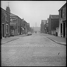 A view looking south along Mary Street from Brunshaw Road (now Harry Potts Way) with the Cricketers' Arms Beer House partially visible at the corner o... - ARC104722