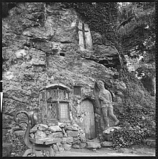 Entrance to the 15th century Chapel of Our Lady of the Crag showing the figure of a knight carved into the front wall, North Yorkshire, England, UK - ARC104725