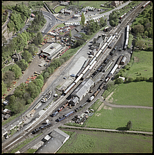 Aerial view of steam trains at Bridgnorth Railway Station on the private Severn Valley Railway in 1972, Bridgnorth, Shropshire, England, UK - ARC104767