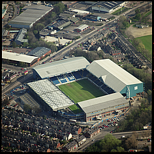 Aerial view of Hillsborough Stadium in 1995, home of Sheffield Wednesday Football Club, Sheffield, South Yorkshire, England, UK - ARC104771