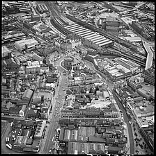 Aerial view of the town centre in 1977, with council offices and Citadel Railway Station, Carlisle, Cumbria, England, UK - ARC104773