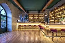 Interior view of preserved historic landmark Pyrgos Cafe Bar in Aigio Greece renovated by architect Nikos Mourikis - ARC105013