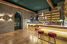 Interior view of preserved historic landmark Pyrgos Cafe Bar in Aigio Greece renovated by architect Nikos Mourikis - ARC105017