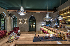 Interior view of preserved historic landmark Pyrgos Cafe Bar in Aigio Greece renovated by architect Nikos Mourikis - ARC105019
