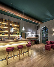 Interior view of preserved historic landmark Pyrgos Cafe Bar in Aigio Greece renovated by architect Nikos Mourikis - ARC105020
