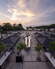 Roof garden of preserved historic landmark Pyrgos Cafe Bar in Aigio Greece renovated by architect Nikos Mourikis - ARC105035