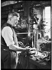 Interior view of the Forge, showing Mr Jefferies at work, Cotswolds, Gloucestershire, UK - ARC105383