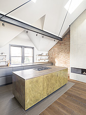 Bespoke brass kitchen of a refurbished top floor flat of a large detached Victorian property and attic conversion including new dormer extension to fo... - ARC105673