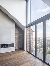 Double height living room of a refurbished top floor flat of a large detached Victorian property and attic conversion including new dormer extension t... - ARC105674