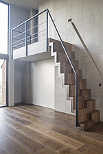 Detail of the paddle stairs connecting the living room with the master bedroom in a refurbished top floor flat of a large detached Victorian property... - ARC105676