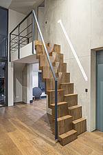 Detail of the paddle stairs connecting the living room with the master bedroom in a refurbished top floor flat of a large detached Victorian property... - ARC105689