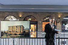 Architect Thomas Heatherwick speaks at the press preview of Coal Drops Yard, a retail district in London's King's Cross, UK - ARC105725