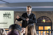 Architect Thomas Heatherwick speaks at the press preview of Coal Drops Yard, a retail district in London's King's Cross, UK - ARC105727