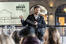 Architect Thomas Heatherwick speaks at the press preview of Coal Drops Yard, a retail district in London's King's Cross, UK - ARC105728