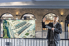 Architect Thomas Heatherwick speaks at the press preview of Coal Drops Yard, a retail district in London's King's Cross, UK - ARC105729