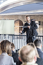 Architect Thomas Heatherwick speaks at the press preview of Coal Drops Yard, a retail district in London's King's Cross, UK - ARC105731