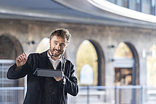 Architect Thomas Heatherwick speaks at the press preview of Coal Drops Yard, a retail district in London's King's Cross, UK - ARC105732