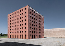 A close-up, day-shot of Aldo Rossi's Ossuary cube, Modena, Italy - ARC105772